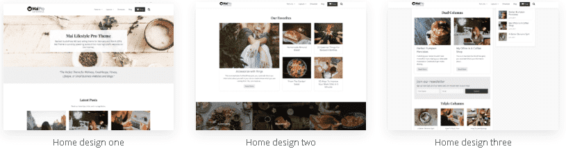 see the Mai Pro Theme Review Homepages