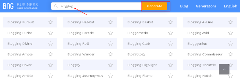Leverage a name generator for choosing a domain name for a personal website or blog